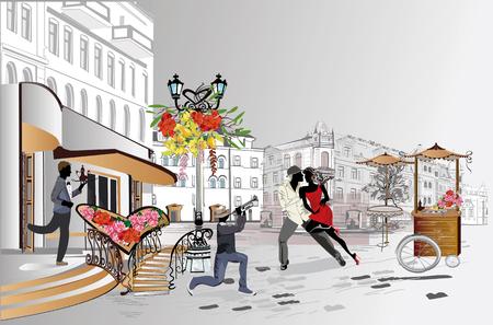 Gente de moda en el café de la calle. Café de la calle con flores en la ciudad vieja. Músicos callejeros.