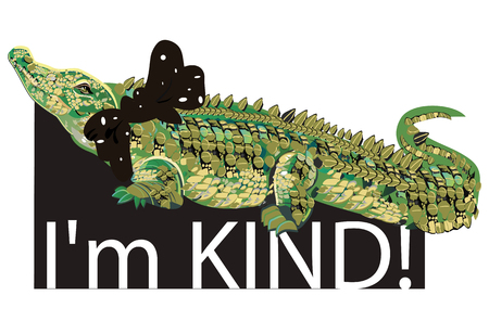 Slogan with character of Fashion Crocodile with a bow.  T shirt design. Hand drawn vector illustration