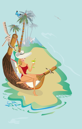 Series of tropical backgrounds with a fashion girl in a hammock. Sandy beach with palm trees and flowers. 向量圖像