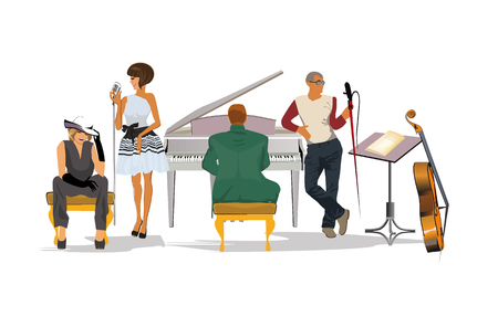 Musicians at the party. Jazz band. Hand drawn vector illustration.