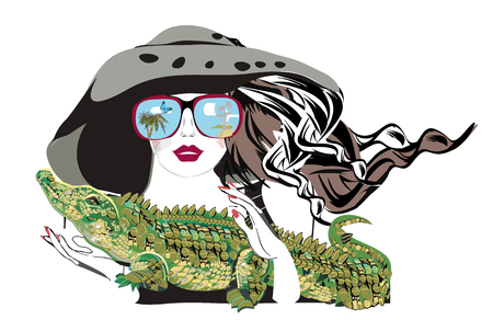 Beautiful fashion girl in hat and sunglasses with her pet, a crocodile. T shirt design. Hand drawn vector illustration. 向量圖像