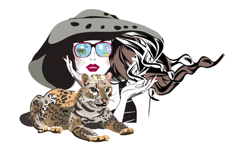 Beautiful fashion girl in hat and sunglasses with her pet, a leopard. T shirt design. Hand drawn vector illustration.