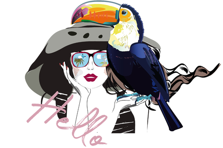 Beautiful fashion girl in hat and sunglasses with her toucan. T shirt design. Hand drawn vector illustration. 向量圖像