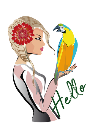Beautiful fashion girl in hat and sunglasses with her pet, a parrot. T shirt design. Hand drawn vector illustration.