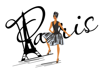 Lettering Paris with a fashion girl in black dress. Hand drawn vector illustration. 向量圖像