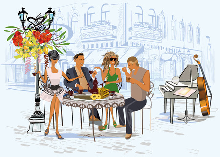 Series of the street cafes with fashion people, men and women, in the old city, vector illustration. Waiters serve the tables.