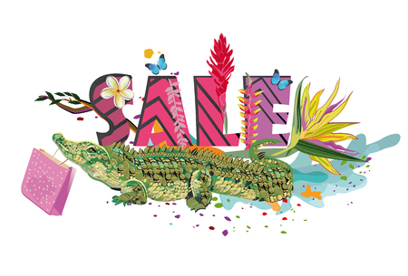 Series of Summer Sale banner with tropical leaves and animals. Hand drawn illustration. 向量圖像