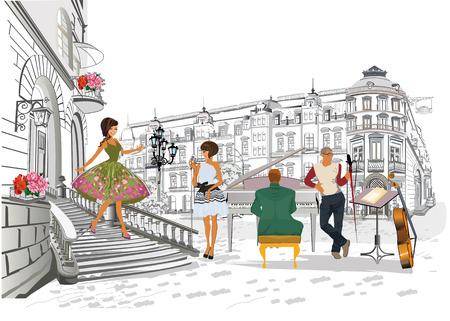 Serie di caffè all'aperto con moda persone, uomini e donne, nella città vecchia, illustrazione vettoriale. I camerieri servono i tavoli. Vettoriali