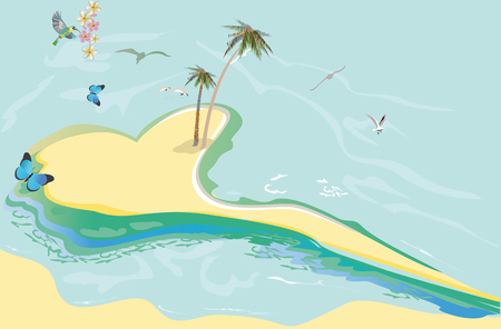 Series of relax summer backgrounds with sunlight and sea beach. Island in the form of heart in the ocean. Hand drawn illustration.