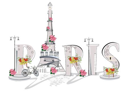 Lettering Paris decorated with flowers and architectural elements. Hand drawn vector illustration.