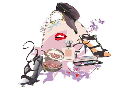 Set of makeup elements and shoes for fashion look. Accessories and flowers. Hand drawn vector illustration. Illustration