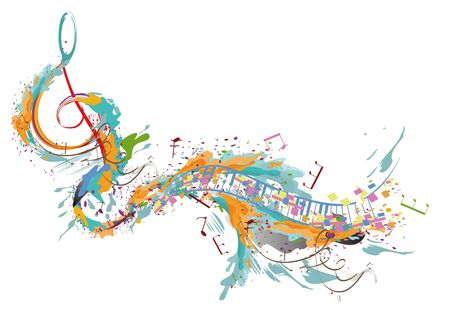 Conception musicale abstraite avec une clé de sol et des vagues musicales. Illustration vectorielle dessinés à la main.