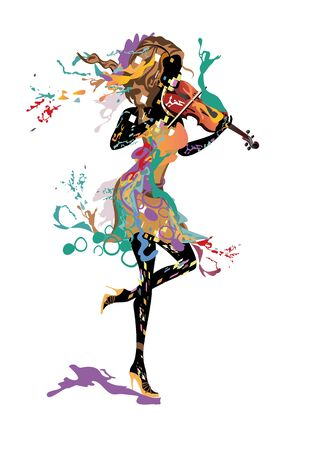 Series of abstract colorful musicians decorated with splashes and paint waves. Hand drawn vector illustration