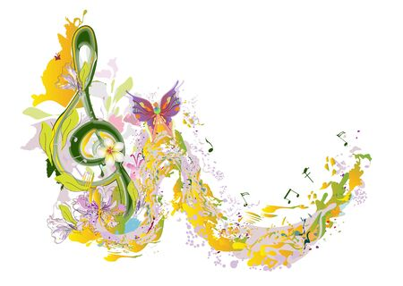Abstract musical design with a treble clef and musical waves. Hand drawn vector illustration.