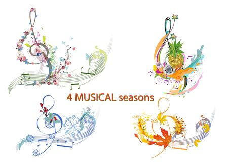 Abstract treble clef decorated with summer, autumn, winter and spring decorations: flowers, leaves, notes, birds. Hand drawn musical vector illustration.