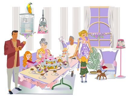 Mother, a father, thier  children and a grandfather, a grandmother having thier holiday family dinner. Hand drawn vector colorful flat illustration. Illustration