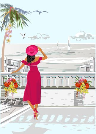 Beautiful woman in a red hat in the old city near the sea. Hand drawn vector background with well grouped elements.
