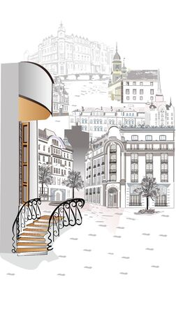 Series of street views in the old city. Hand drawn vector architectural background with historic buildings. Black & white sketch