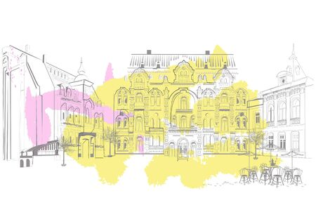 Series of street views in the old city. Hand drawn vector abstract architectural background with historic buildings with colorful splashes.