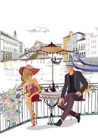 Romantic couple in the cafe in Italy. Colorful travel background decorated with golden patterns. Hand drawn vector background.