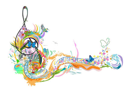 Abstract treble clef decorated with summer, autumn, winter and spring decorations: flowers, leaves, notes, birds.  musical vector illustration. Ilustrace