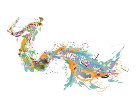 Abstract musical design with colorful splashes and musical waves, notes. Hand drawn vector illustration. Vector Illustration