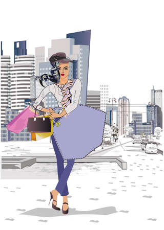 Fashion young woman in hat with shopping bags in the city.  Fashion girl portrait sketch. Hand drawn vector illustration.