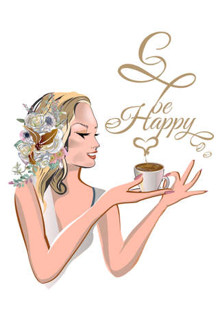 A beautiful girl's face with blond hair decorated with flowers and butterflies taking a cup of coffee in her hands in lines with lettering and a heart.  Vector illustration.