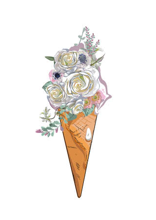 Abstract dessert, an ice-cream, decorated with roses, anemonas and other flowers. Hand drawn vector illustration.