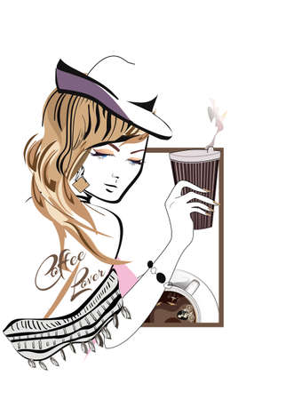 Fashion girl drinking coffee. Hand drawn vector illustration.
