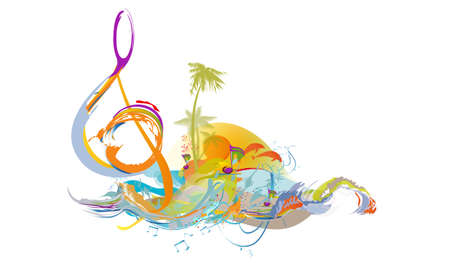 Abstract nature treble clef decorated with summer and spring flowers, notes, birds. Light and relax music. Hand drawn vector illustration.