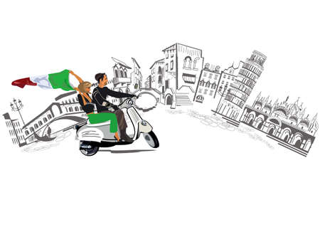 Romantic couple with an italian flag and Italian sights. Travel design background for postcard etc.