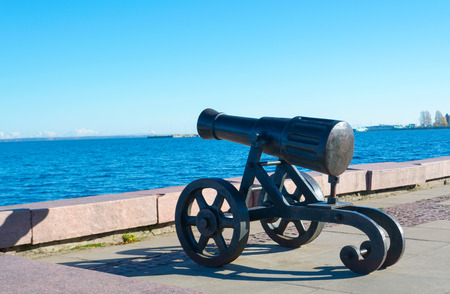 Ancient cannon created at the Alexander factory. Located on the waterfront of Lake Onega in Petrozavodsk. It weaved power and history, courage and fear.