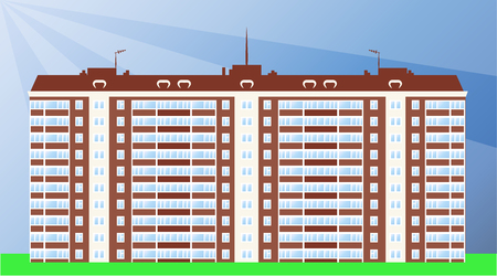 cloudless: Typical serial block of flats day view. Vector illustration
