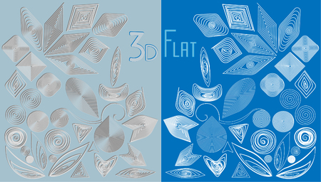 Elements for designs in quilting style (3D and flat). Illustration