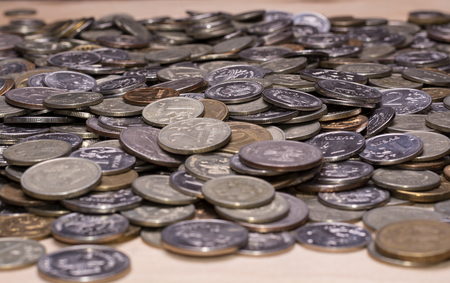 The background of a huge number of Russian coins (kopecks and rubles)