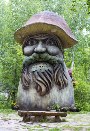 RYAZAN, RUSSIA - 19 JULY, 2017: The Mushroom borovik (or porcini) with eyes. Art-object in the Ryazan entertaining park In a certain kingdom Editorial