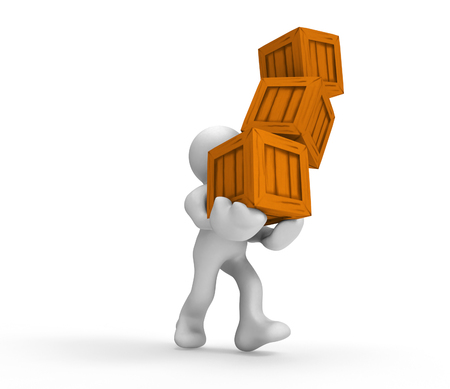 industrial safety: 3D cartoon man carrying wooden box Stock Photo
