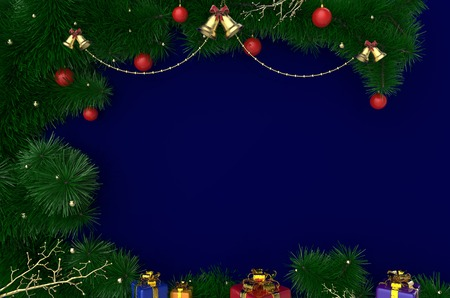 rendering: 3D Rendering New Year, Christmas background with tinsel, balls and gifts