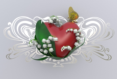 3d rendering heart with leaves, lily of the valley flowers and butterfly on grey background