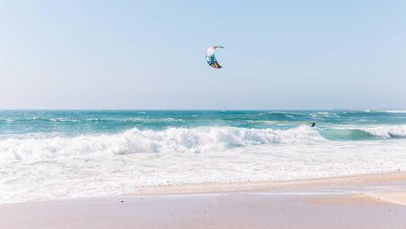 Kite surging in the Atlantic ocean. Portugal