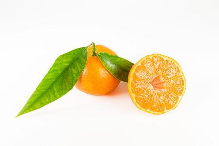 bisected: Mandarin on white background