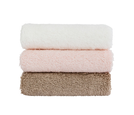 Three bath towels on white background. Isolated Фото со стока