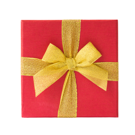 red gift box: Red gift box isolated over white Stock Photo