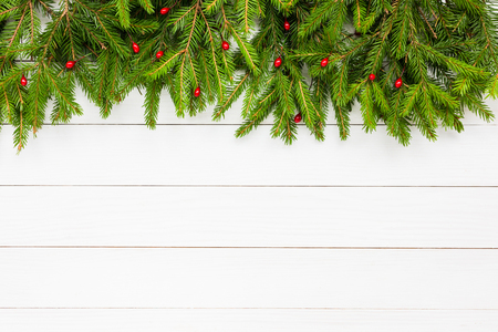 Christmas background.  Christmas fir tree on white wooden board background with copy space.