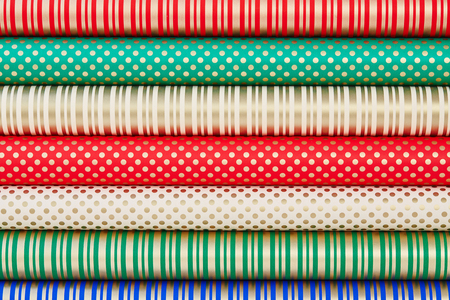 rolled paper: Colorful rolled paper for wrapping gifts
