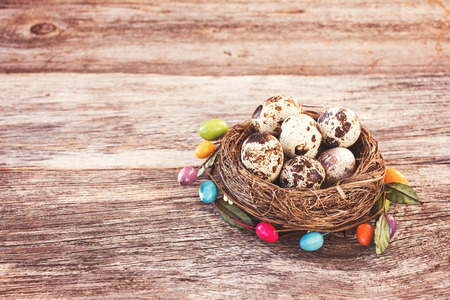 quail nest: Easter quail eggs in small nest on wooden background. Decorate, toned, soft focus Stock Photo