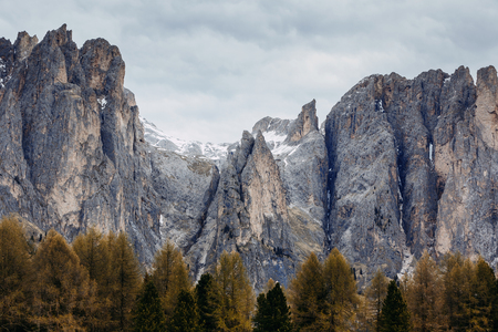 Dolomites mountains in the North of Italy, Trentino. Landscape, Alp. Cloudy day