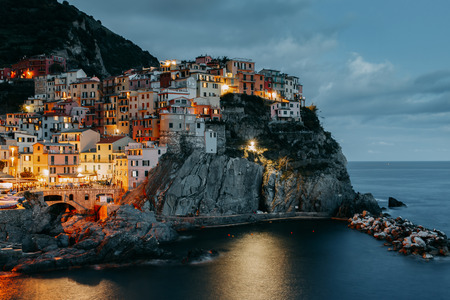 Night view of Manarola village, Cinque Terre, Liguria, La Spezia. Italy.