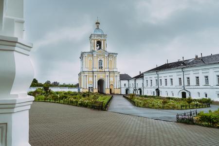 Bell tower of Khutyn Monastery of Saviours Transfiguration and of St. Varlaam. Russia, Novgorod Veliky. Summer, rainy day
